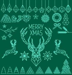 Geometric low poly Christmas set vector image
