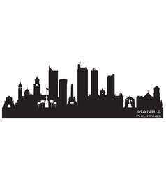 manila philippines city skyline silhouette vector image