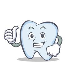 okay tooth character cartoon style vector image vector image