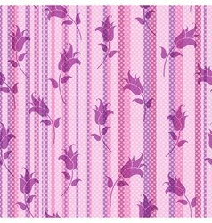 Seamless floral striped pattern vector image