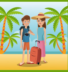 travelers vacation suitcase palm sand beach vector image vector image
