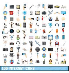 100 internet icons set cartoon style vector