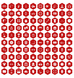 100 stopwatch icons hexagon red vector
