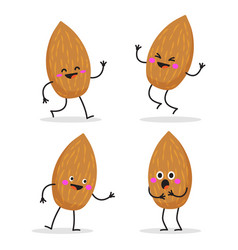almond cute nut character set vector image