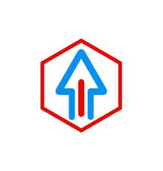 arrow up polygon logo vector image