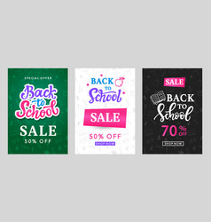 Back to school sale banner templates set vector