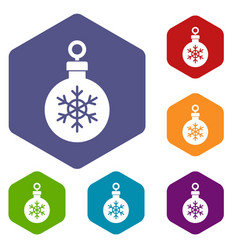 ball for the christmas tree icons set vector image
