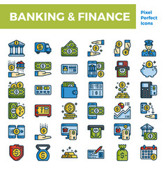 Banking and finance outline color icon base on vector