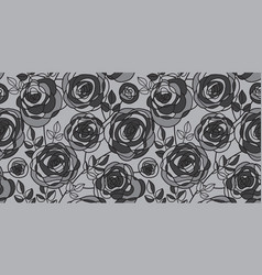 black and gray hand drawn rose motif vector image