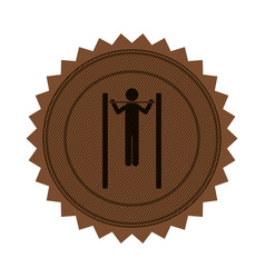 Brown circular seal with gymnastic training in vector