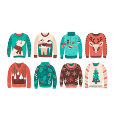 bundle of ugly christmas sweaters or jumpers vector image