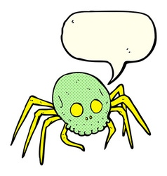 cartoon spooky halloween skull spider with speech vector image