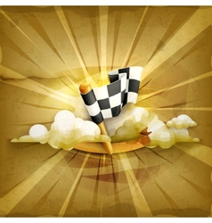 Checkered flag old style background vector image vector image