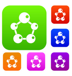 chemical and physical molecules set color vector image