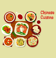 Chinese meat seafood veggies dish asian cuisine vector