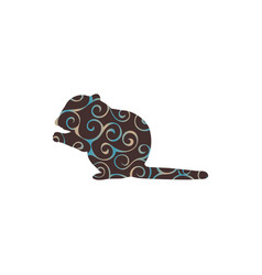 chipmunk rodent mammal color silhouette animal vector image