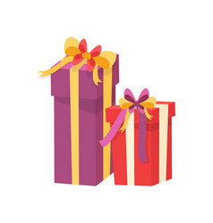 christmas presents wrapped in gift boxes vector image