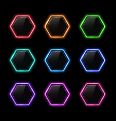 color neon sign set hexagon glowing light banner vector image