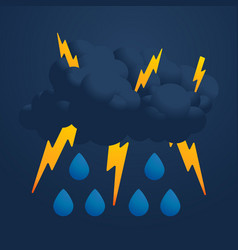 cool single weather icon with cloud heavy fall vector image
