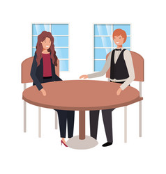 Couple seated in living room avatar character vector