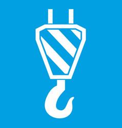 Crane hook icon white vector