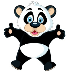cute Baby panda rising his hand vector image
