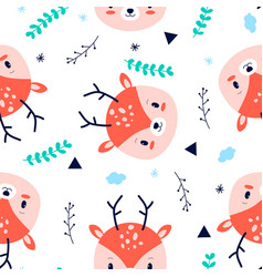 cute deer background seamless pattern vector image