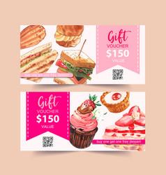 Dessert voucher design with sandwich choux cream vector