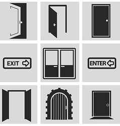 Different doors web icons collection vector