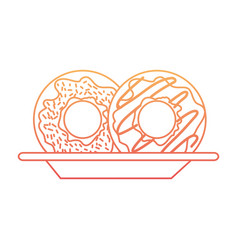 donuts on dish in degraded orange to magenta color vector image