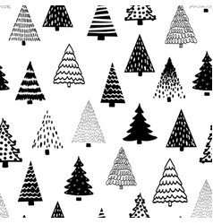 doodle tree pattern black on white seamless vector image