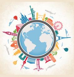earth globe surrounded famous landmarks vector image