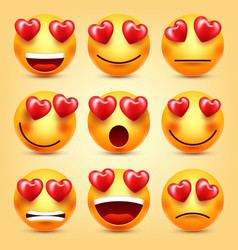 Emoji smiley with red heart set valentines vector