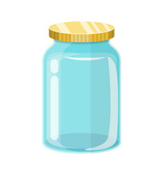 Empty glass transparent jar with gold lid vector