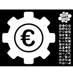 Euro Development Gear Icon with Tools Bonus vector image