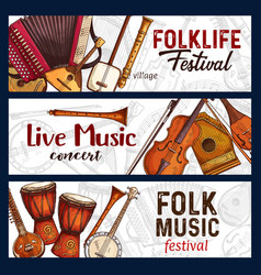 folk music festival musical instruments sketch vector image