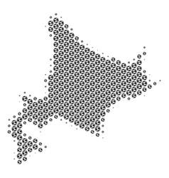 Football ball hokkaido island map mosaic vector