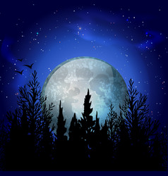 Forest moon realistic composition vector