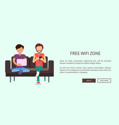 free wi-fi zone web banner with two men sitting vector image