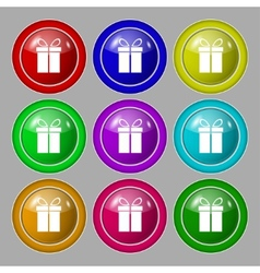 Gift box sign icon Present symbol Set colourful vector