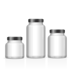 Glass Jars Bottles Empty Transparent vector