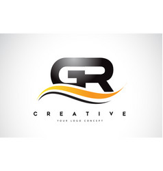 Gr g r swoosh letter logo design with modern vector