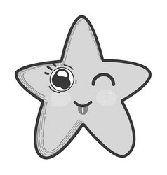 Grayscale kawaii funny star with tongue outside vector