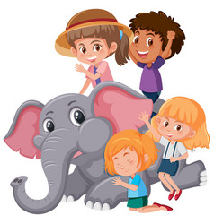 group of children playing with elephant vector image