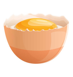 Half eggshell with yolk icon cartoon style vector