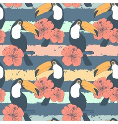 Hand drawn seamless vintage pattern with toucans vector