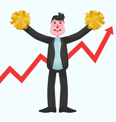 Happy businessman with a wide chin holds pompoms vector