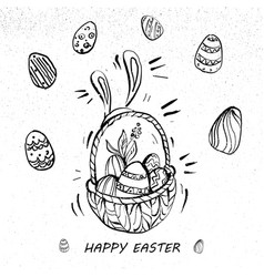 Happy easter eggs on a basket line art retro style vector