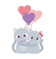 happy valentines day cute couple cat hugging vector image
