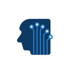 Head with digital circuit board blue icon vector